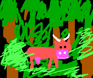 Pink cow in the forest