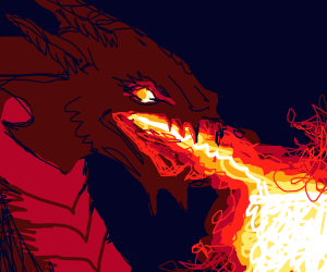 Fire breathing dragon with horns.