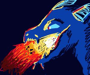 Blue cool dragon spits fire
