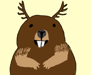 Beaver with antlers
