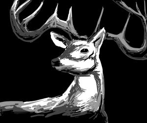Deer with massive horns