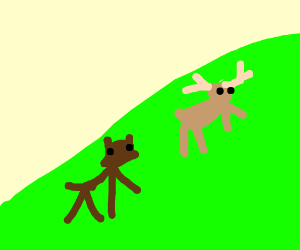 Dog chasing deer up a hill