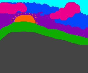 Sunset hill with a rainbow (and pink clouds!)