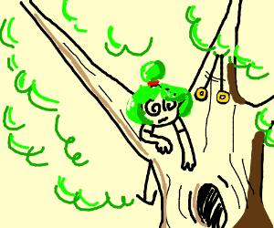 Hypnotized girl stuck in tree