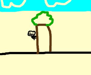 Climbing a tree to make treehouse