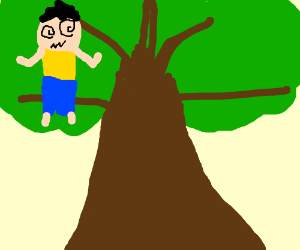 Crazy dad in a tree