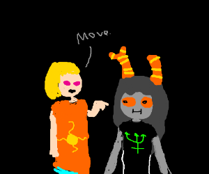 Blonde haired woman tells homestuck oc to move