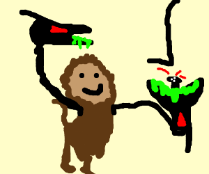 A monkey with two extra alien heads