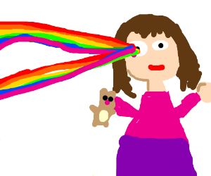 Girl shoots rainbow laser from one eye