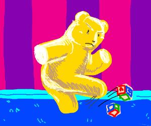 Mad gummy bear destroying toys
