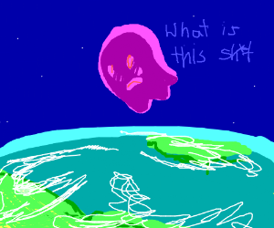 purple ghost flying over the earth