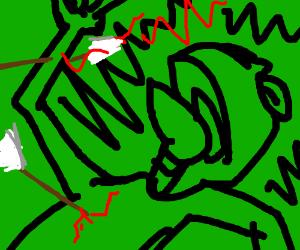 Kermit being shot by arrows