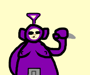 Tinky Winky about to kill you with a knife