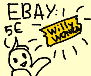 Boy selling a Golden WillyWonka ticket on Ebay