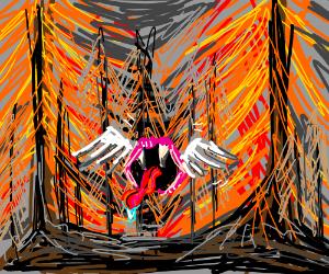 floating fangs in orange forest