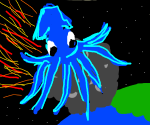 A blue squid riding a meteorite