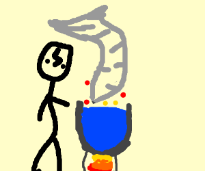 Harry brewing a storm spell in cauldron