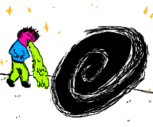 Man vomiting in front of black hole