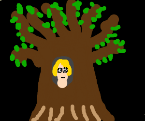 Girl hypnotized in a tree
