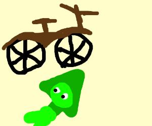 A bike driving over Steven Universe's Peridot