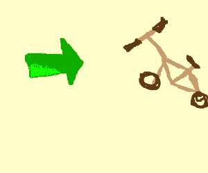 green arrow whit eyes pointing at a brown bike