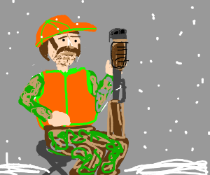 Hunter with mustache in snowy weather.