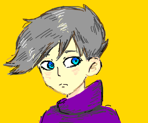 Anime Boy With Grey Hair And Blue Eyes Drawing By Beesu Drawception