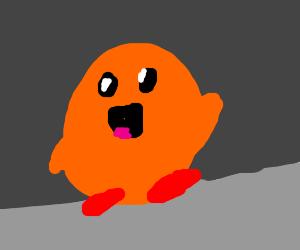 Orange Kirby walking happily.