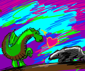 Baby dragon befriends a badger <3
