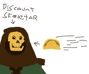 Skeletor eating a taco
