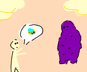 A guy telling monster that he can hold bees