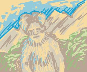 Rare Ram-Yeti spotted near Mountains