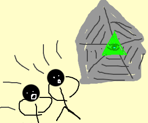 Two small people find giant pentagram