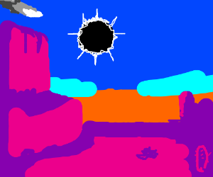 Eclipse over purple desert