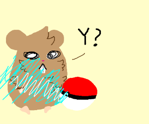 catching a hamster with a pokeball