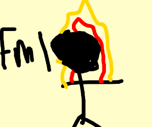 Black stick figure on fire