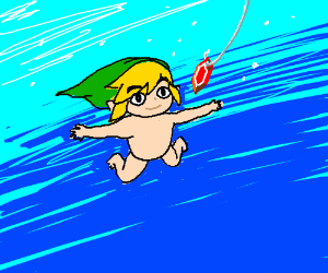 Nirvana album cover but the baby is Link