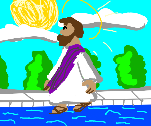 Jesus walking on water in a swimming pool