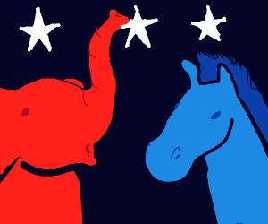 Democrats & Republicans Donkeys & Elephants