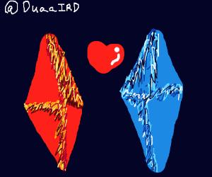 Fire diamond & Water diamond w/ a heart behind