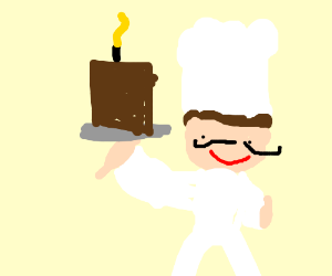 a waiter serving a delicious chocolate cake