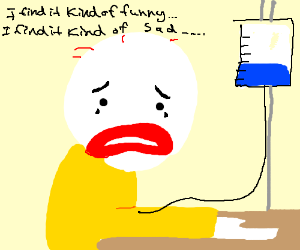 a sad clown singing Mad World.