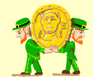 two leprechauns carrying a giant coin