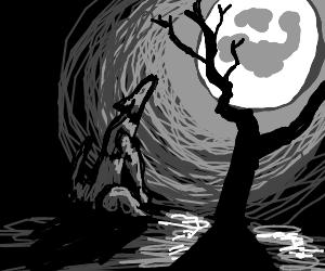 Wolf howls at full moon