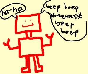 red robot makes beep memes