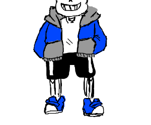 a chubby skeleton with hands in pockets