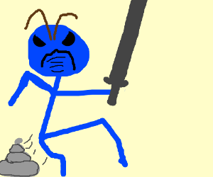 Blue guy with sword takes a silver poop