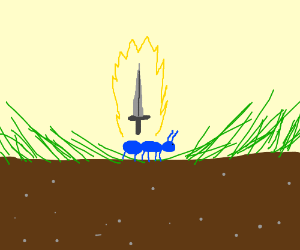 blue ant with a sword