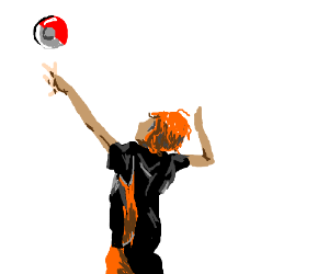 playing volleyball with pokeball