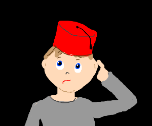 A confused guy in a red hat.